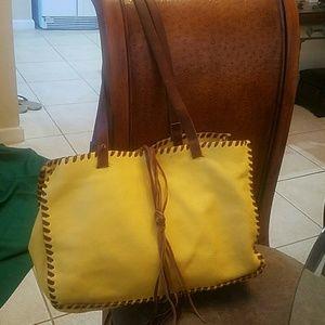 Carla Mancini tote bag yellow tan leather